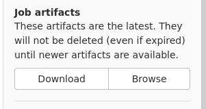 Screenshot aus GitLab der die Möglichkeit zum Download und Browsen von Job-Artifacts anzeigt.