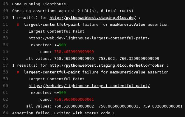 Ausgabe eines GitLab-CI-Jobs bei dem Lighthouse einen Fehler ausgibt wegen des Überschreitens des LCP-Werts im Performance-Budget